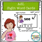 Sign Language Sight Word Cards