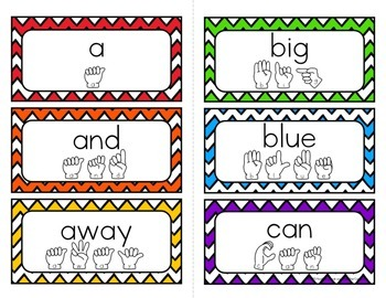 American Sign Language Sight Word Cards CHEVRON {Preprimer}