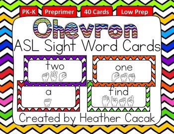 American Sign Language Sight Word Cards CHEVRON {Preprimer}