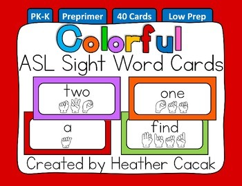 American Sign Language Sight Word Cards COLORFUL SOLIDS {P