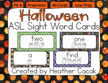 American Sign Language Sight Word Cards HALLOWEEN {Preprimer}