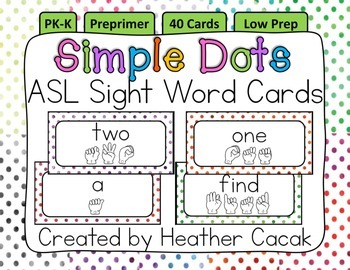 American Sign Language Sight Word Cards SIMPLE DOTS {Preprimer}