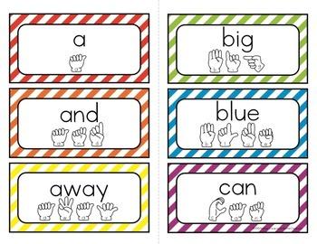 American Sign Language Sight Word Cards STRIPES {Preprimer}