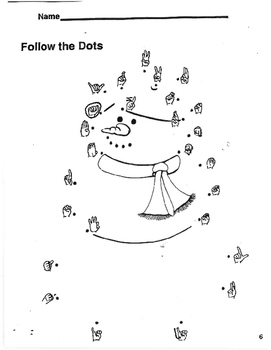 American Sign Language Snowman Dot-to-Dot