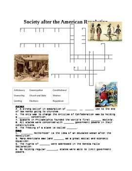 American Society after Revolution Crossword or Web Quest