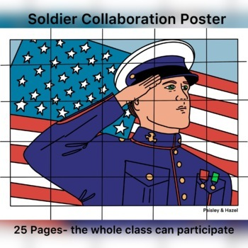 Labor Day Activity- American Soldier Collaboration Coloring Poster