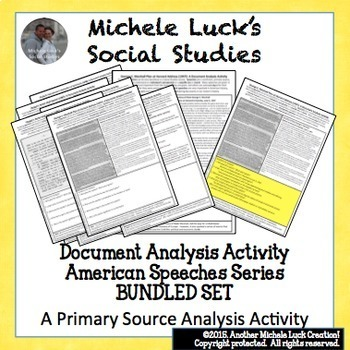 American Speeches Speech Document Analysis for U.S. History BUNDLED SET!