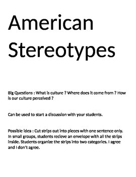 American Stereotypes and Culture