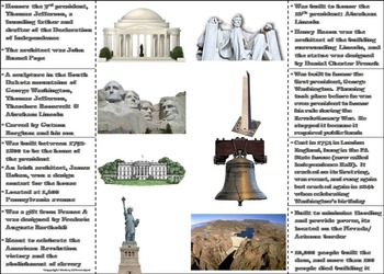 American Symbols and Monuments Activity: White House, Statue of Liberty etc