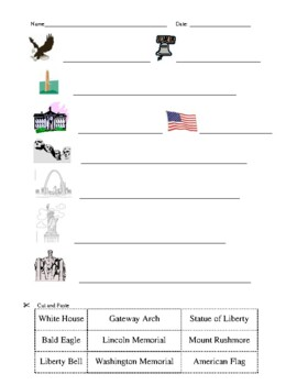 American Symbols Activities: Cut & Paste, Match Up, and Puzzle