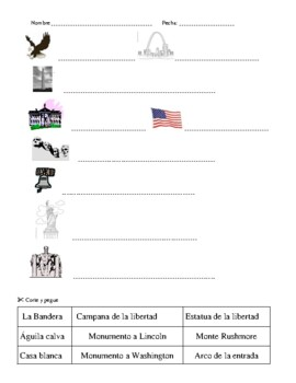 American Symbols Activities: Match Up, Puzzle and Assessment in Spanish