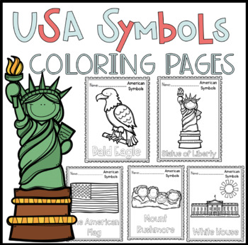 American Symbols Coloring By Peaks And Pencils Tpt