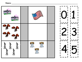 American Symbols Counting Practice for Kindergarten- Veterans Day