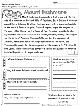 American Symbols - Finding Text Evidence Reading Comprehension Passages