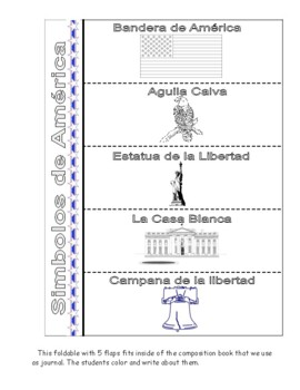 American Symbols Foldable and Flip Book - Spanish