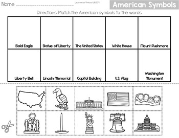 American Symbols Matching Cut and Paste Worksheet Distance Learning