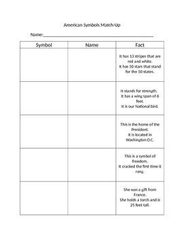 American Symbols Matching Worksheet