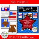 Math Coloring Sheets-  American Symbols Theme - Number Sen