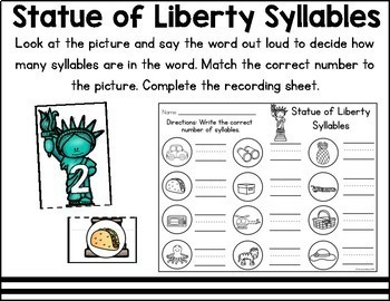 American Symbols Literacy and Math Centers