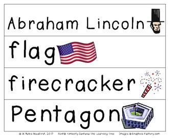 American Symbols Pocket Chart Cards