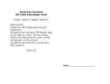 American Symbols QR Codes Write the Room Scavenger Hunt