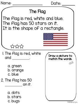 American Symbols Reading Comprehension Passages *free Packet