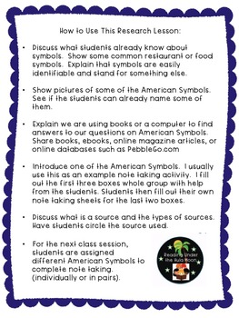American Symbols Research First Grade