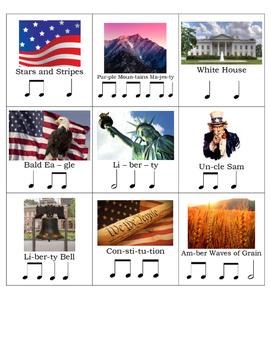 American Symbols Rhythm Cards