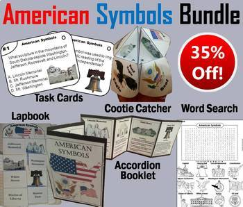 American Symbols Task Cards and Activities Bundle