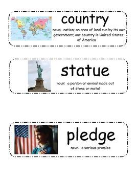 American Symbols Vocabulary Cards