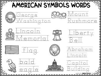 American Symbols Word Wall