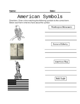 American Symbols Worksheet