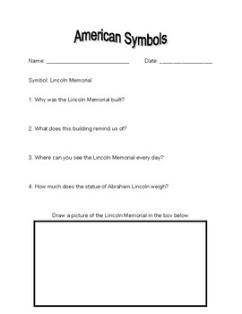 American Symbols Worksheets