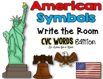 American Symbols Write the Room - CVC Words Edition