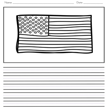 American Symbols Writing Journal with Word Wall Cards