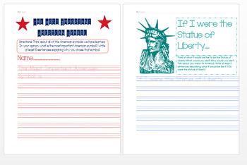 American Symbols Writing Worksheets/Activities