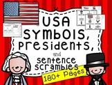 American Symbols and Sentence Scramble (Plus Washington and Lincoln)