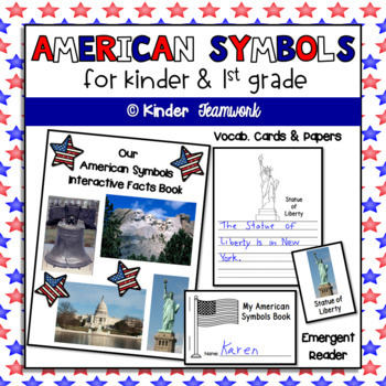 American Symbols - emergent reader, vocab cards, writing...