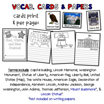 American Symbols - emergent reader, vocab cards, writing.