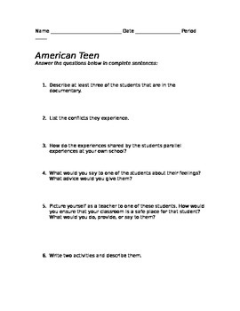American Teen Documentary Questions