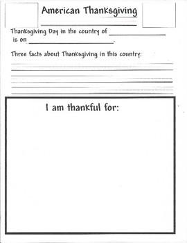 American Thanksgiving Activity
