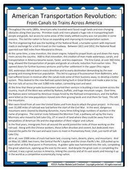 American Transportation Revolution SPRITE Social Studies Graphic Organizer