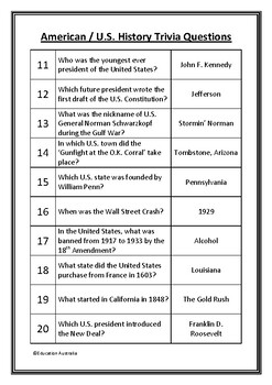 American / U S  History Trivia Questions / Quiz - 20 Questions With Answers