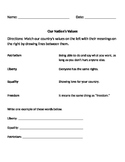 American/US National Values Social Studies Worksheet