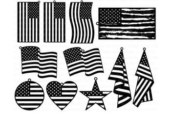 American USA Flag Earrings SVG, Patriot Pendant SVG.