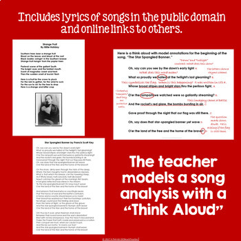 Literary Analysis & Close Reading:  Reflections of America Through Music