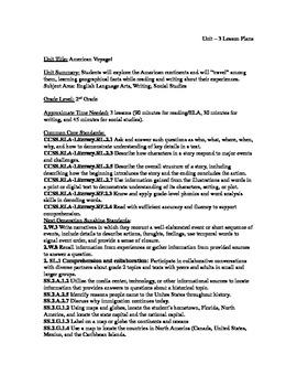 """""""American Voyage"""" Unit - 3 lesson plans (ELA, Writing, Soc"""