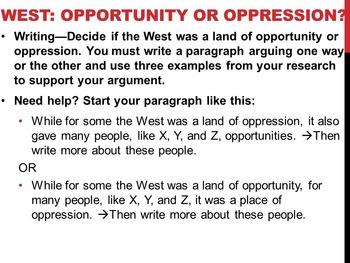 U.S. Westward Expansion - Opportunity or Oppression? Reading & Writing Activity