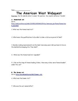 American West Webquest- Homestead Act, Dawes Act, Indian Wars, Cattle Drives