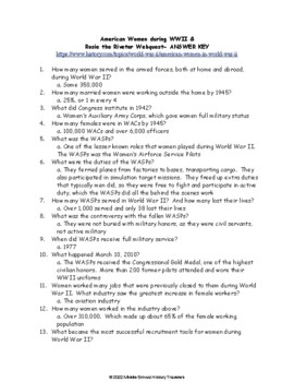 American Women Working during WWII & Rosie the Riveter Poster Webquest